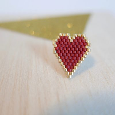 pin's ♡ Heart Of Glass ::bords dorés / rouge brique::