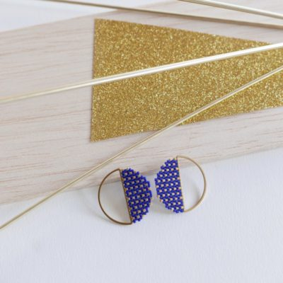 boucles d'oreilles rondes FEST ::bleu&doré::