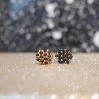 puces d'oreilles FEST (duo#) ::noir&doré::