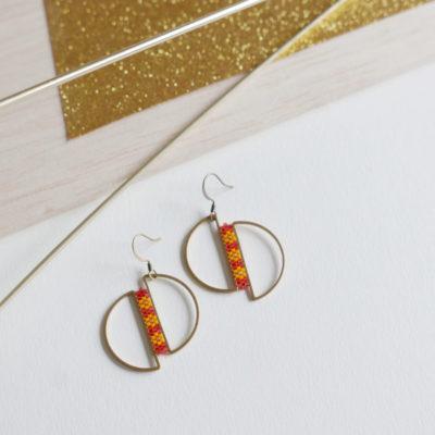 boucles d'oreilles OUMOU  ::pastèque/3 fleurs jaune::