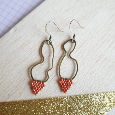 boucles d'oreilles ALÉATOIRE (tissé) ::pastèque & doré::