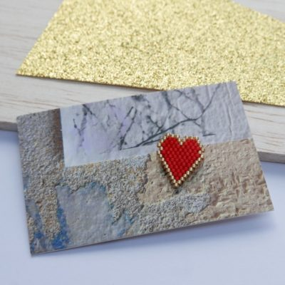pin's ♡ Heart Of Glass ::bords dorés / rouge::